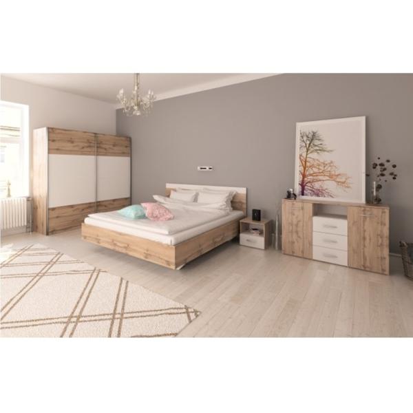 Set dormitor (Pat 160x200 cm), stejar wotan/alb, GABRIELA