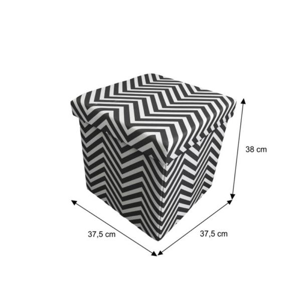 Taburet, material textil gri/alb, GAZMEND