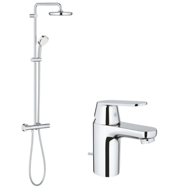 Pachet: Baterie lavoar Grohe Eurosmart Cosmo S-32825000, Coloana dus Grohe New Tempesta 210-27922001