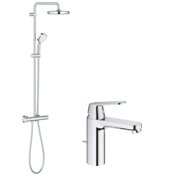 Pachet: Coloana dus Grohe New Tempesta 210-27922001, Baterie lavoar Grohe Eurosmart Cosmo M size-23325000