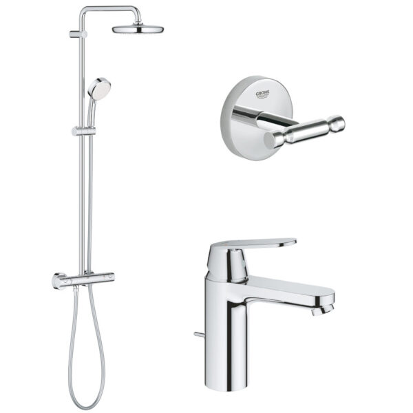 Pachet: Coloana dus Grohe New Tempesta 210-27922001, Baterie lavoar inaltime medie Grohe Eurosmart Cosmo M-23325000, Agăţătoare Grohe BauCosmopolit