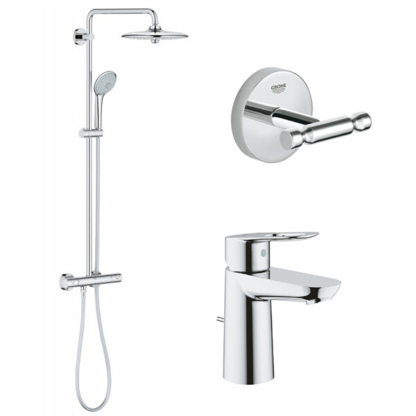 Pachet: Coloana dus Grohe Euphoria 260-27296002, Baterie lavoar Grohe Bauloop-23335000, Agatatoare baie Grohe Baucosmo-40461001