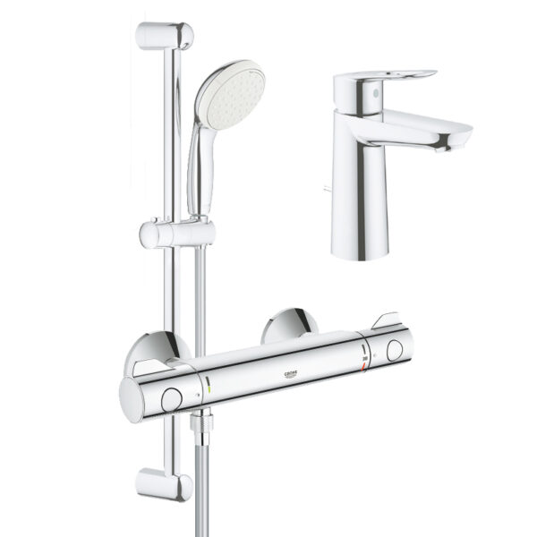 Pachet: Baterie cabina dus termostat Grohe Grohtherm 800-34565001, Baterie lavoar Grohe Bauloop marimea M-23762000