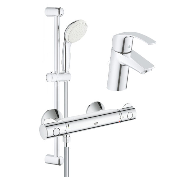 Set complet baterii baie dus cu termostat Grohe Grohtherm 800 (33265002, 34558000, 27853001)
