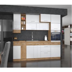 Cabinet superior de colţ, stejar lancelot/alb extra lucios HG, VEGA 58x58 GN-72 1F
