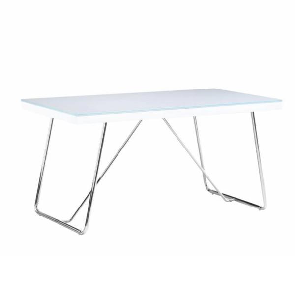 Masă dining, sticlă întărită/metal, alb/crom, AMI