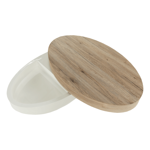 Măsuţă de cafea, alb extra lucios HG/stejar sonoma, JEMAN