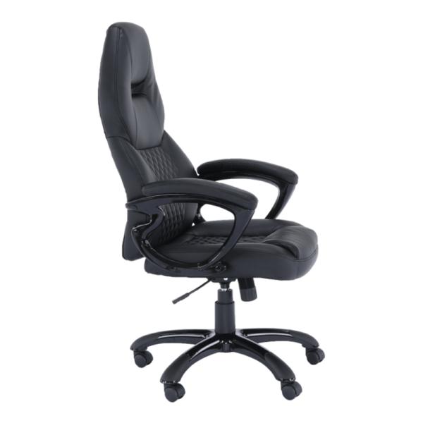 Fotoliu birou, piele eco neagră, HEVYR