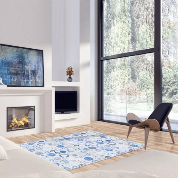 Covor 80x200 cm, albastru/crem, PARLIN