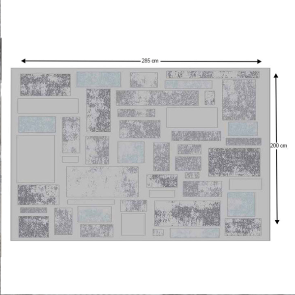 Covor 200x285 cm, gri deschis/gri închis, HEATHER