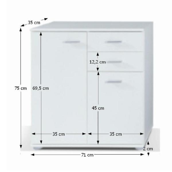 Comodă 2-2T2S, alb, TAMPA