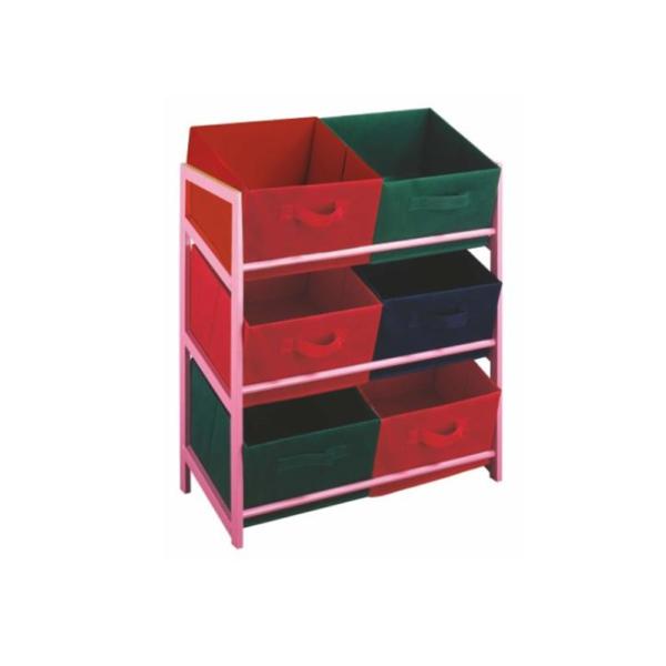 Comodă multifuncţionala cu coşuri din textil, ramă roz/coşuri colorate, COLOR 96