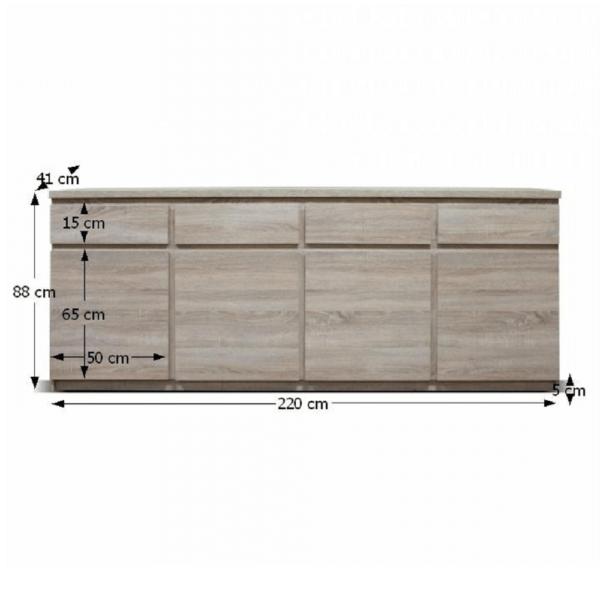 Comoda, typ 11, cu patru uşi, patru sertare, stejar sonoma, PANAMA