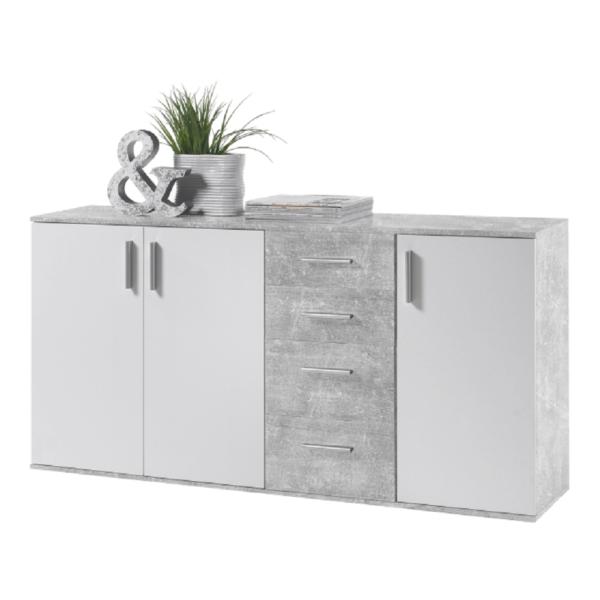 Comodă, albă/beton, POPPY 3