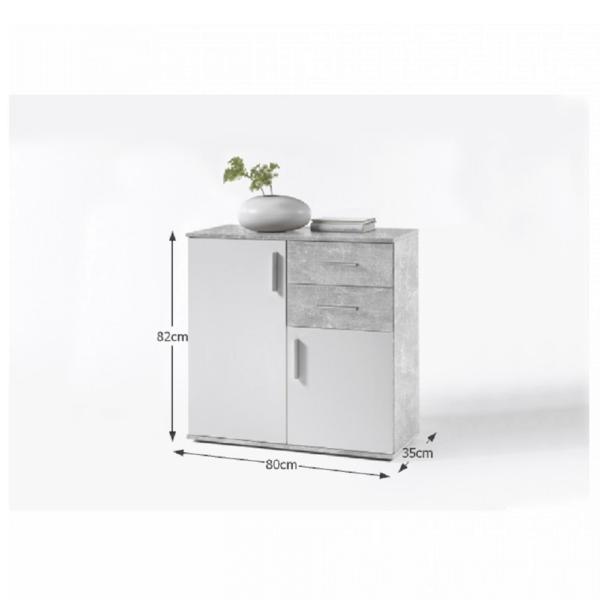 Comodă, alb/beton, POPPY 4