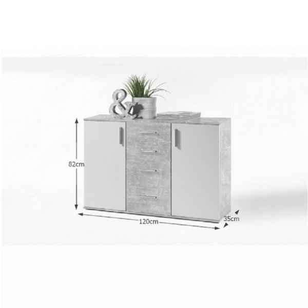 Comodă, alb/beton, POPPY 5