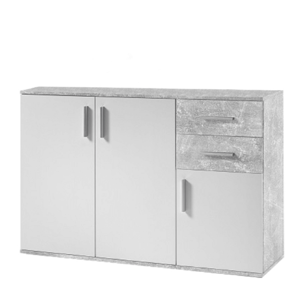 Comodă, alb/beton, POPPY 2