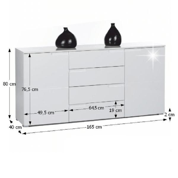 Comodă 4 sertare, alb, SPICE 3