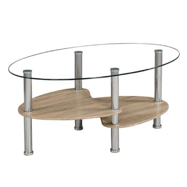 Măsuţă de cafea, oţel/sticlă transparentă/stejar sonoma, PANTY NEW