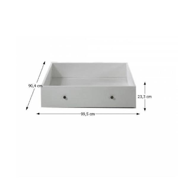 Spaţiu de depozitare cu rotile sub pat 77805, PAL înfoliat/MDF lăcuit, alb, PARIS