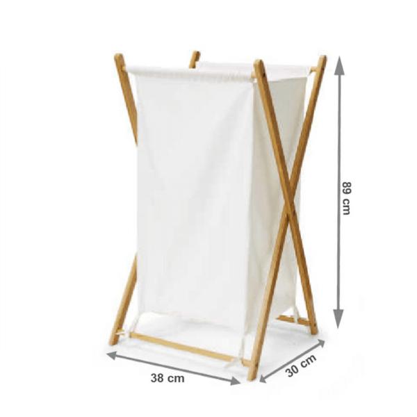 Coş de rufe, bambus lăcuit/alb, AVELINO