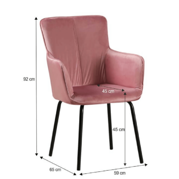 Fotoliu de design, roz catifelat/negru, VETAR