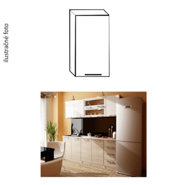 Dulap bucătărie,stâng, luciu alb, ITA G-40
