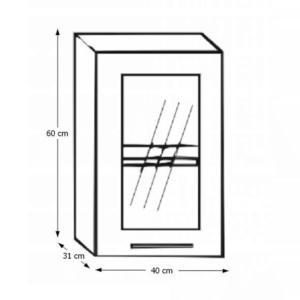 Dulap de bucătărie, model stânga, ramă argintie/sticlă, ITA NEW GW-40