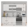 Ansamblu bucătărie 2,4 m, alb, FABIANA