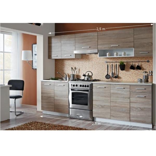 Mobilă de bucătărie, set de bază, stejar sonoma/alb, CYRA NEW 2,5m
