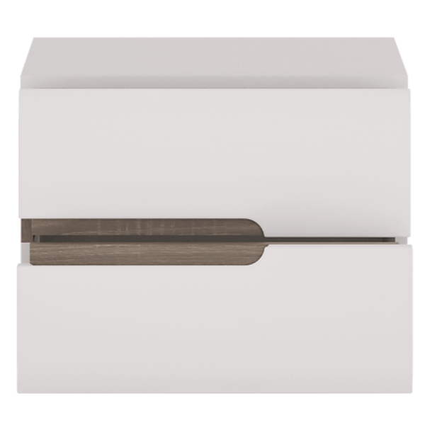 Noptieră, albă extra luciu ridicat HG/stejar sonoma truflu închis, LYNATET TYP 96