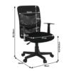 Fotoliu de birou, plasă/piele ecologică neagră/plastic, OBALA
