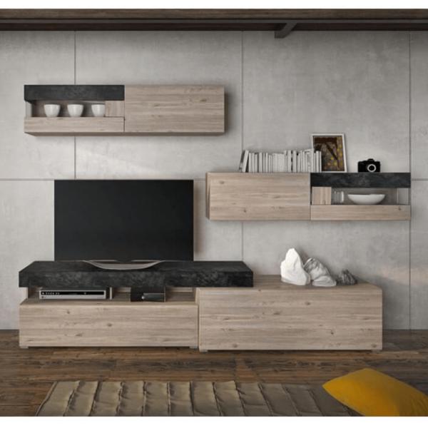 Mobilă de living, pal melaminat, stejar nelson/beton, IOVA