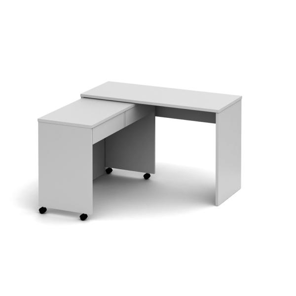 Masă extensibilă PC cu sertare, alb, VERSAL NEW