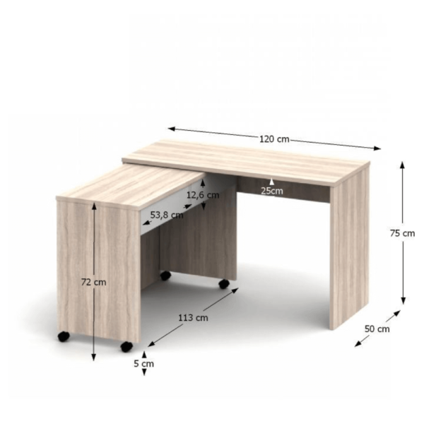 Masă extensibilă PC cu sertare, stejar sonoma/alb, VERSAL NEW