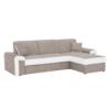 Colţar, D, colţar extensibil cu spaţiu pentru depozitare, textil Berlin maro + piele eco. albă, PEDRO