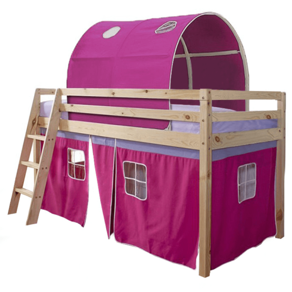 Pat înălţat, lemn de pin natur/roz, 90x200, INDIGO
