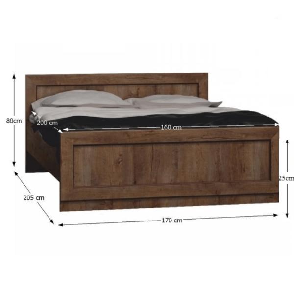Pat cu somieră, Typ T20 pat 160x200 cm, stejar lefkas, TEDY Typ T20