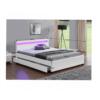 Pat matrimonial, iluminare RGB LED, piele ecologică albă, 160x200, CLARETA