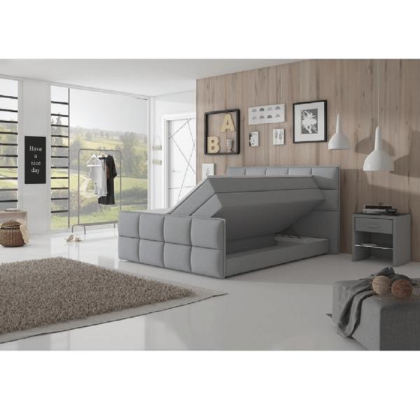 Pat confortabil 180x200 cm, material textil gri, RAVENA KOMFORT