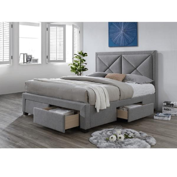 Pat de lux cu spaţiu pentru depozitare, textil gri, 180x200, XĂDRA
