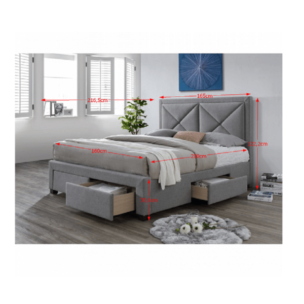 Pat de lux cu spaţiu pentru depozitare, textil gri, 160x200, XADRA