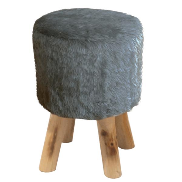 Taburet, blană gri/pin, ALPIA