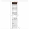 Etajeră 1D1S cu sertar, PAL melaminat, alb/stejar sonoma, TOPTY