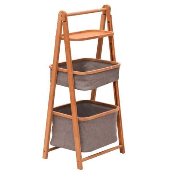 Raft, bambus lăcuit/material gri, VELVI