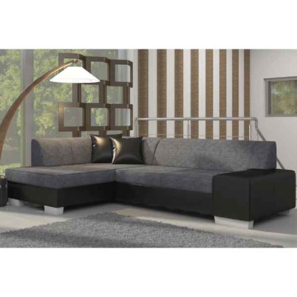 Colţar extensibil, model stânga, piele ecologică neagră/material textil gri/cusătură neagră, PETER NEW