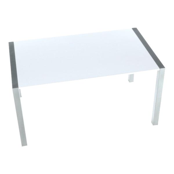 Masă dining, pliabilă, MDF / metal, alb strălucitor HG / argintiu, DARO