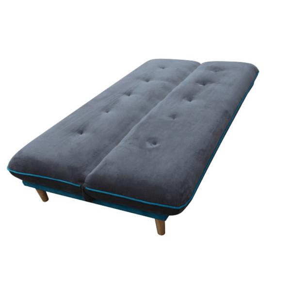 Colţar extensibil, gri/material albastru, lemn natural, ELMO