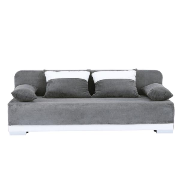 Colţar extensibil, piele ecologică albă/textil gri, REMIA