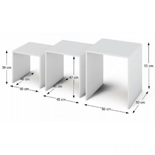 Set a trei măsuţe portabile, alb, SIPANI NEW